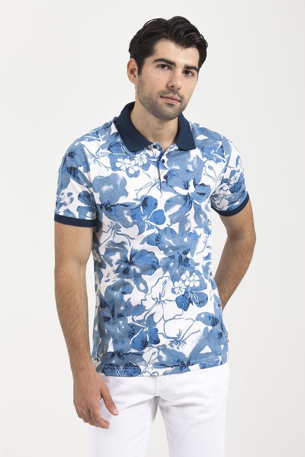 HTML - Desenli Polo Yaka Mavi T-shirt