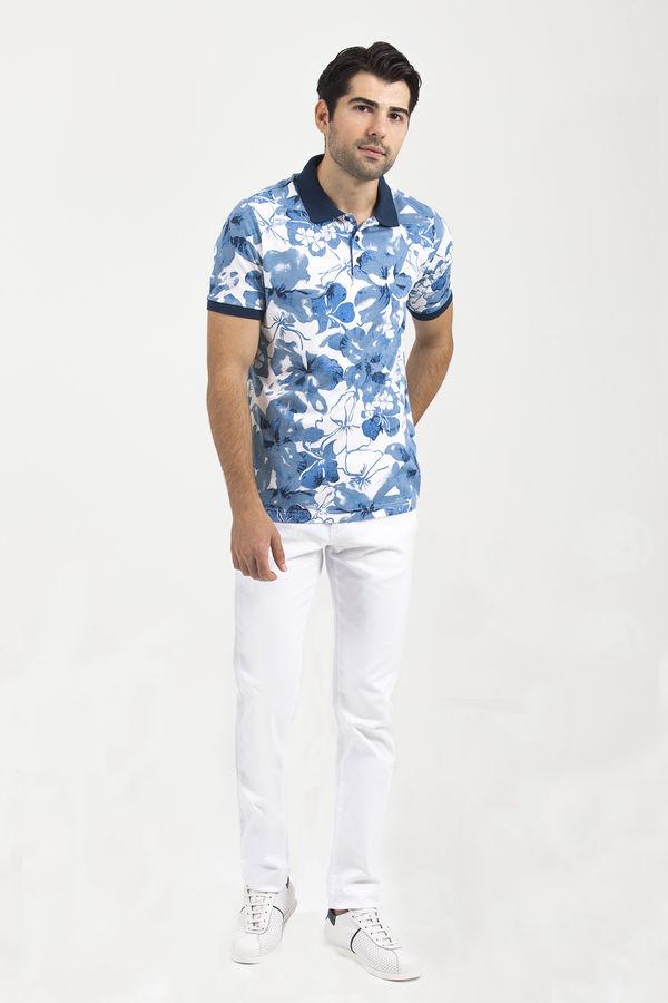 HTML - Desenli Polo Yaka Mavi T-shirt (1)