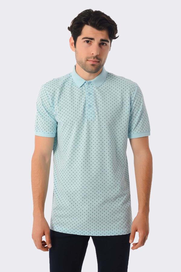 Hatemoğlu - Açık Mavi Desenli Polo Yaka Tişört