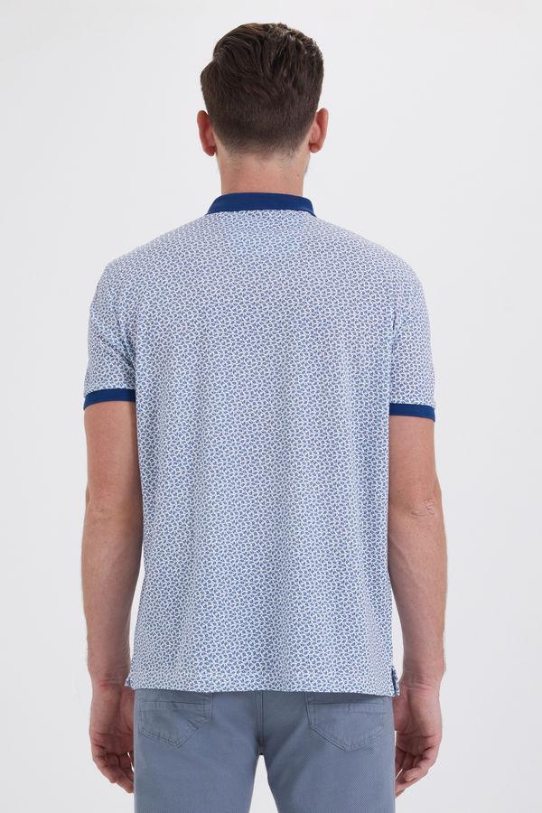 Mavi Desenli Polo Yaka Tişört
