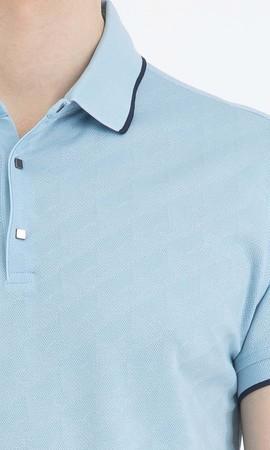 Desenli Polo Yaka Mavi Tişört - Thumbnail