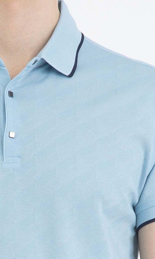 Desenli Polo Yaka Mavi Tişört