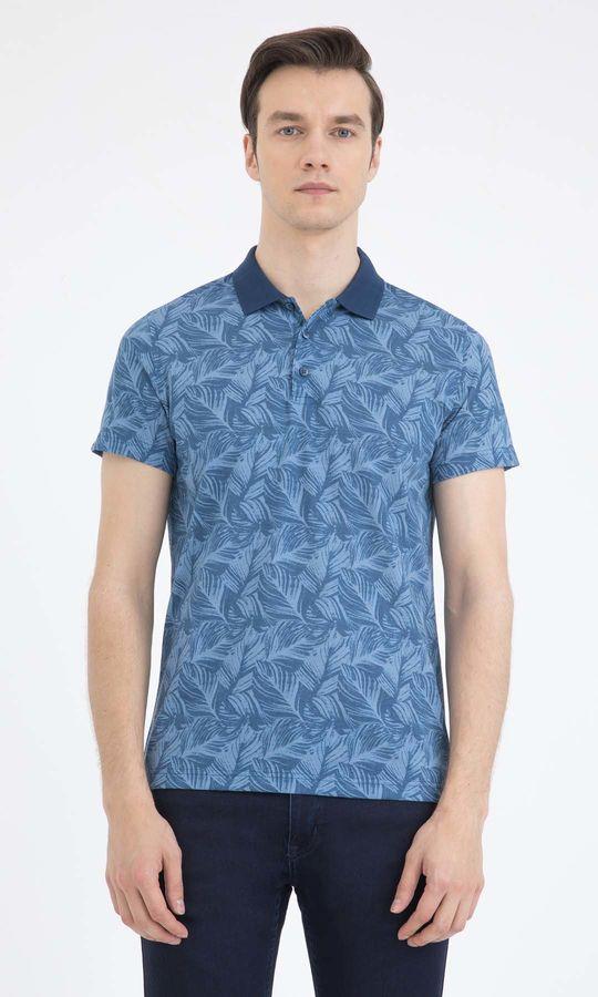 Hatem Saykı - Mavi Desenli Polo Yaka Tişört