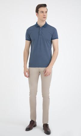 HTML - Mavi Desenli Polo Yaka Basic Tişört (1)