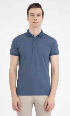 Mavi Desenli Polo Yaka Basic Tişört - Thumbnail