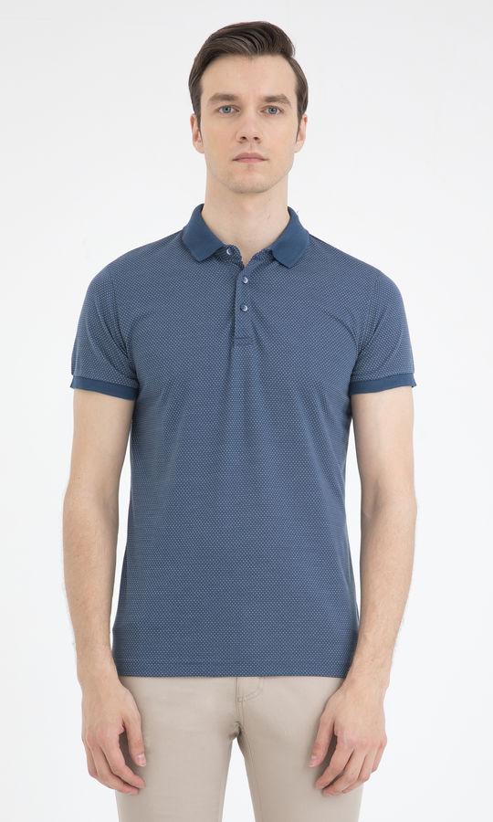 Mavi Desenli Polo Yaka Basic Tişört