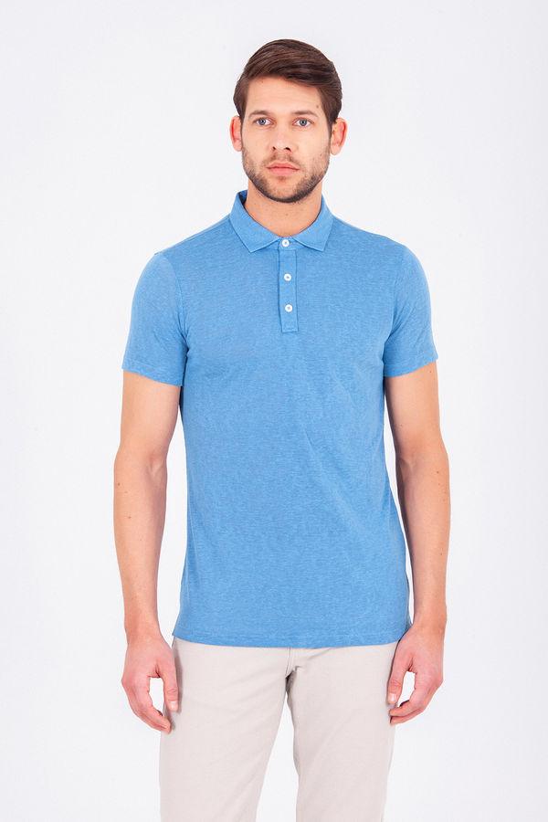 HTML - Mavi Polo Yaka Basic Tişört