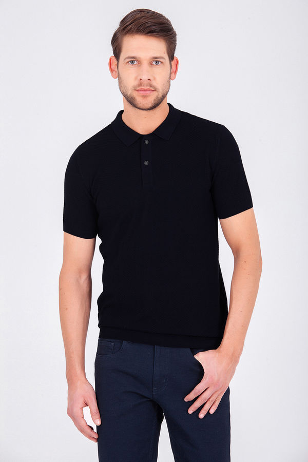 Hatem Saykı - Desenli Polo Yaka Siyah T-shirt