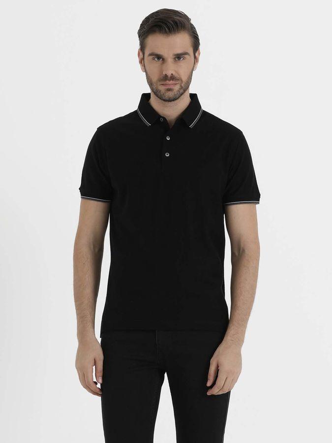 Hatem Saykı - Siyah Polo Yaka Basic Tişört