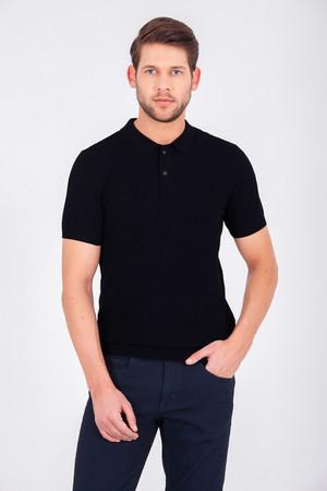 Siyah Polo Yaka Basic Tişört - Thumbnail