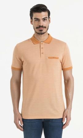 Hatemoğlu - Turuncu Polo Yaka Desenli Tişört