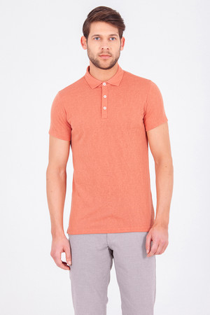 Turuncu Polo Yaka Basic Tişört - Thumbnail