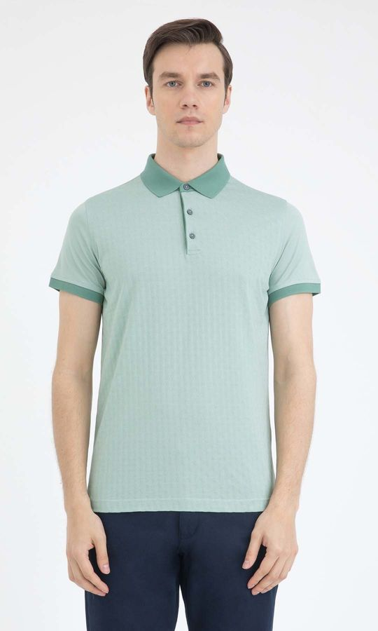 Hatem Saykı - Yeşil Desenli Polo Yaka Tişört