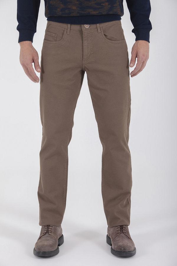 Hatemoğlu - Desenli Regular Bej Pantolon