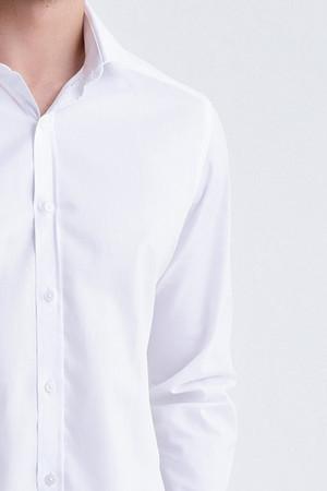 Desenli Regular Beyaz Gömlek - Thumbnail
