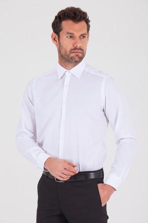 Hatemoğlu - Desenli Regular Beyaz Gömlek
