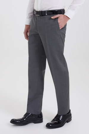 Gri Desenli Regular Fit Kumaş Pantolon - Thumbnail