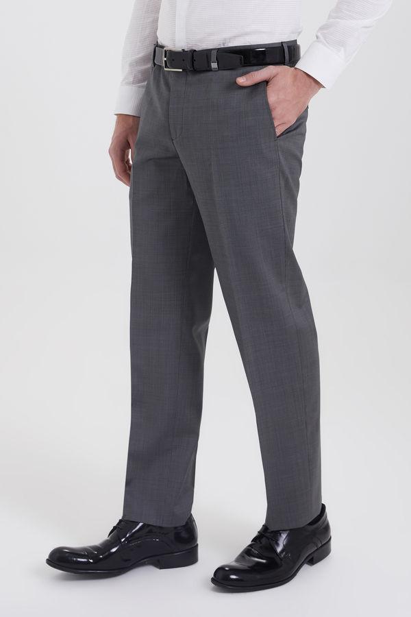 Gri Desenli Regular Fit Kumaş Pantolon
