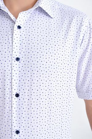 Desenli Regular Lacivert Gömlek - Thumbnail