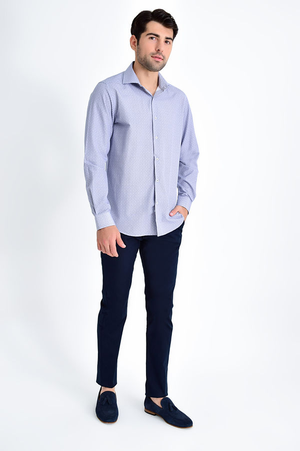 Hatemoğlu - Desenli Regular Lacivert Gömlek (1)