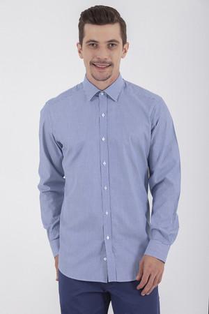 Hatem Saykı - Desenli Regular Lacivert Gömlek