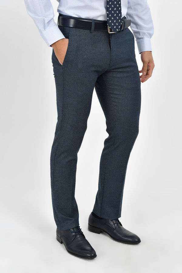 Hatemoğlu - Desenli Regular Lacivert Pantolon