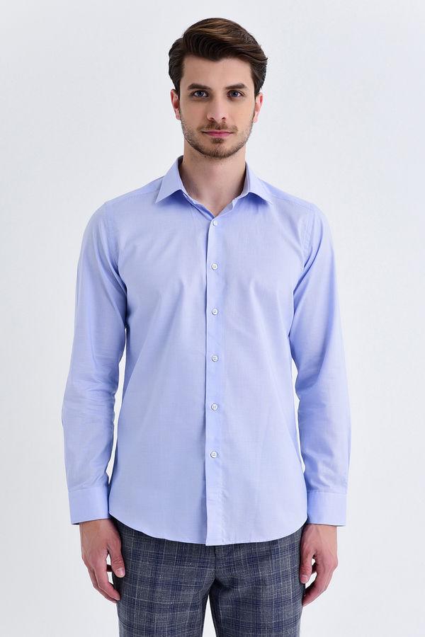 Hatem Saykı - Desenli Regular Mavi Gömlek