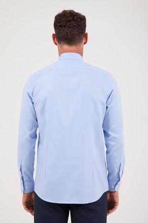 Desenli Regular Mavi Gömlek - Thumbnail