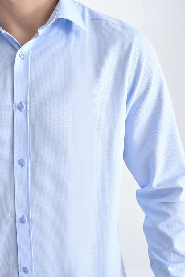 Hatemoğlu - Desenli Regular Mavi Gömlek (1)
