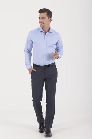 Hatem Saykı - Desenli Regular Mavi Gömlek (1)
