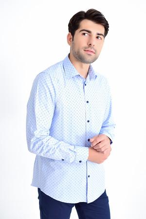 Hatemoğlu - Desenli Regular Mavi Gömlek