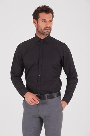 Hatemoğlu - Desenli Regular Siyah Gömlek