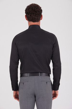 Desenli Regular Siyah Gömlek - Thumbnail