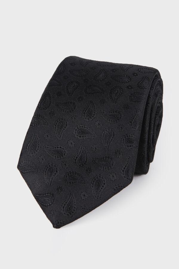 Desenli Siyah Kravat