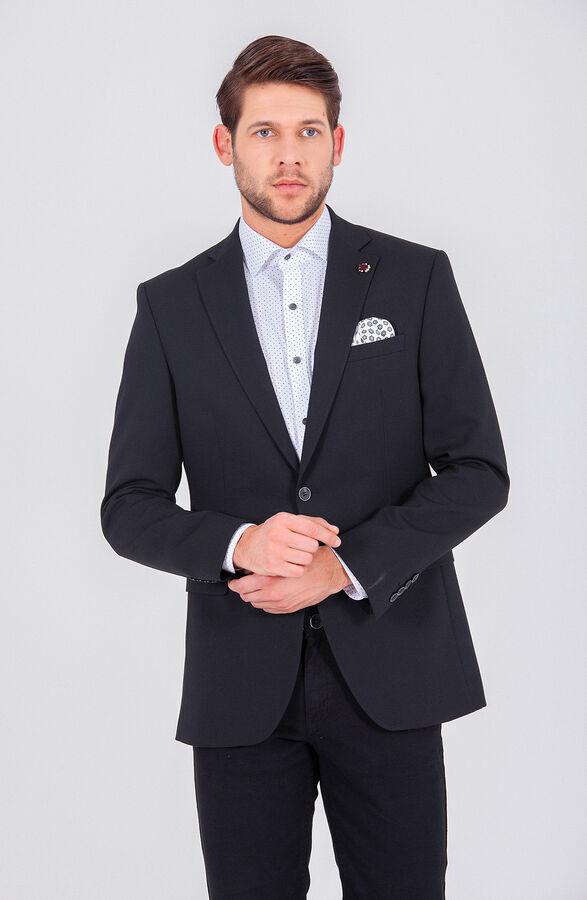 Hatem Saykı - Desenli Siyah Slim Fit Ceket