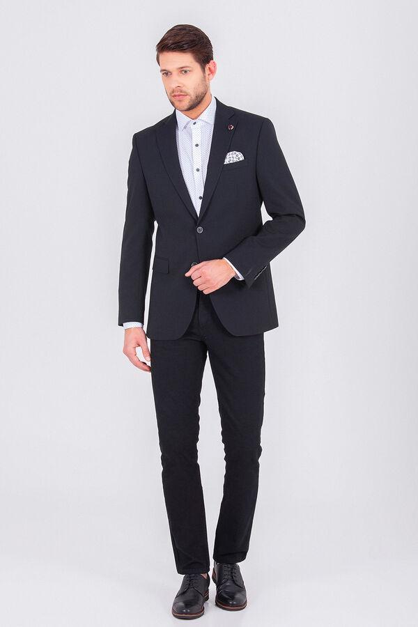 Hatem Saykı - Desenli Siyah Slim Fit Ceket (1)