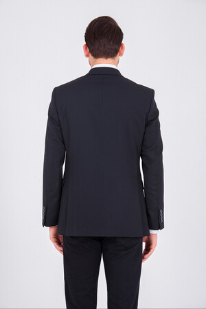 Desenli Siyah Slim Fit Ceket - Thumbnail