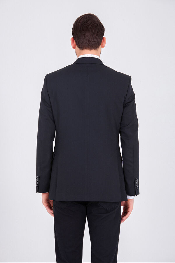 Desenli Siyah Slim Fit Ceket