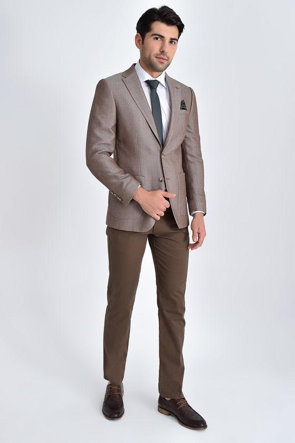 Hatem Saykı - Desenli Slim Fit Bej Ceket (1)