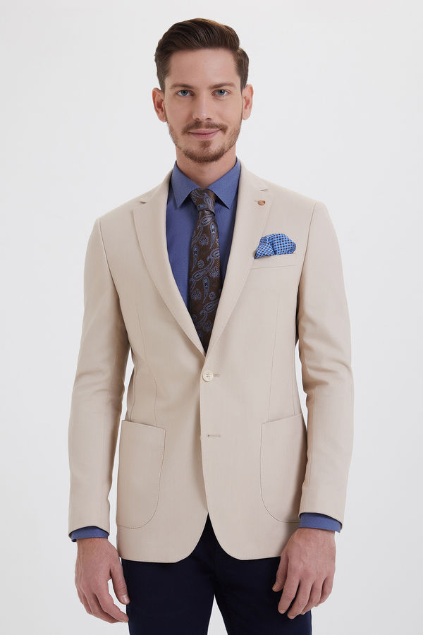 Bej Slim Fit Blazer Ceket