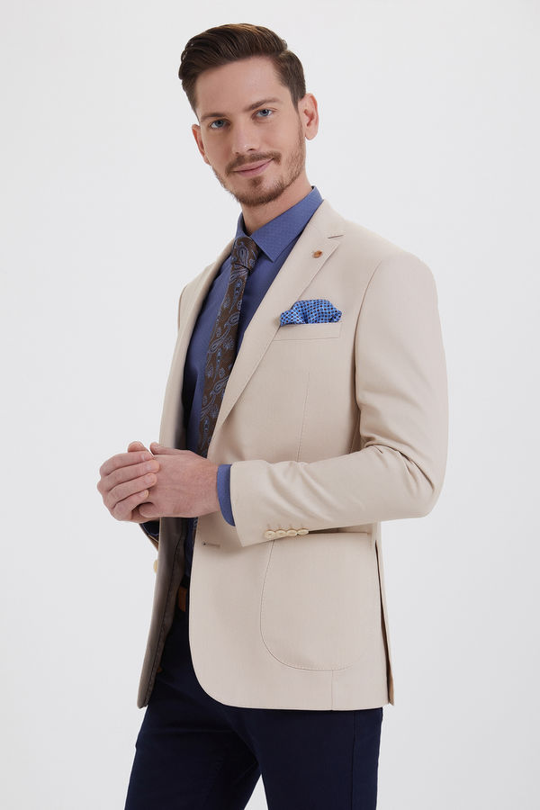 Hatem Saykı - Bej Slim Fit Blazer Ceket
