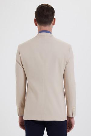 Bej Slim Fit Blazer Ceket - Thumbnail