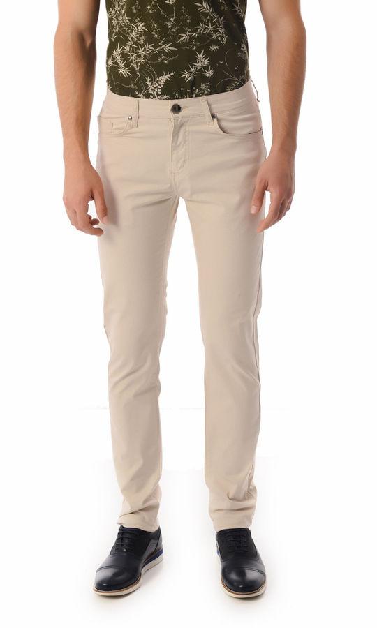 HTML - Desenli Slim Fit Bej Pantolon