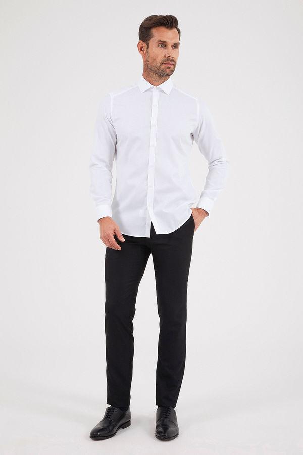 Hatem Saykı - Desenli Slim Fit Beyaz Gömlek (1)