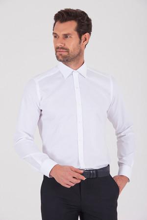 Hatem Saykı - Desenli Slim Fit Beyaz Gömlek