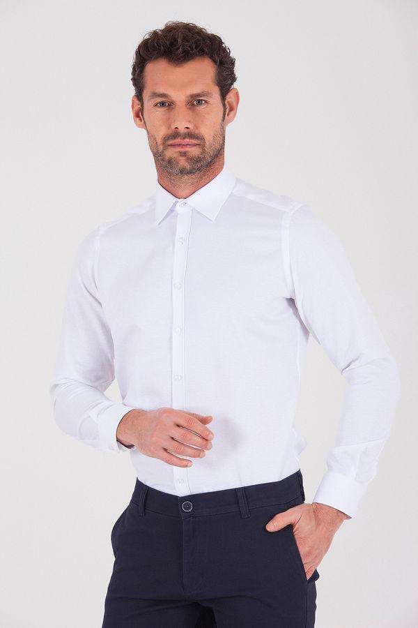 Hatemoğlu - Desenli Slim Fit Beyaz Gömlek