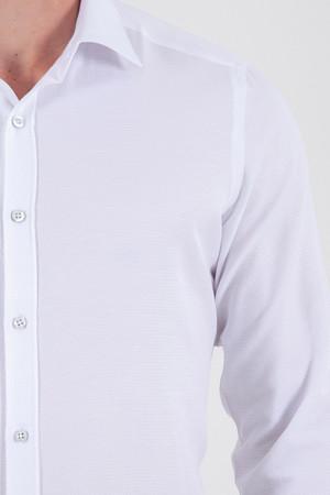 Desenli Slim Fit Beyaz Gömlek - Thumbnail