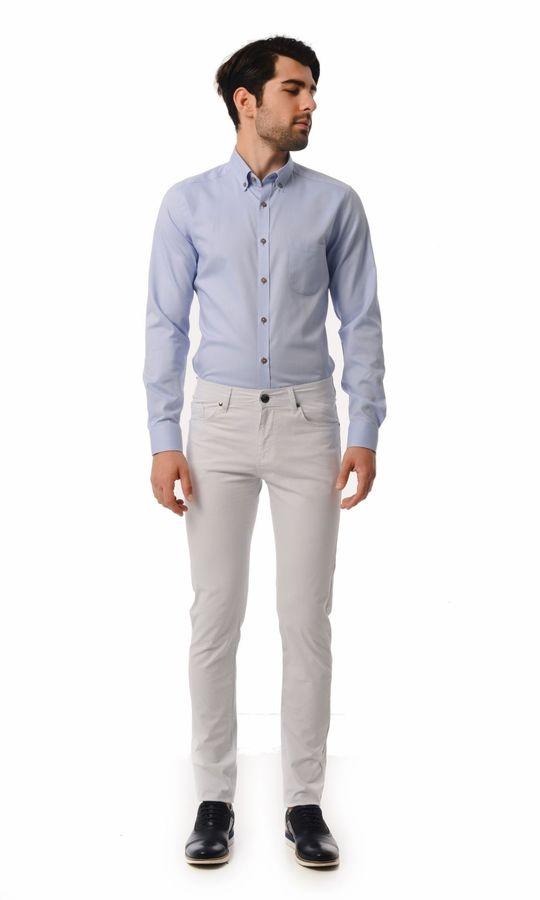 HTML - Desenli Slim Fit Beyaz Pantolon (1)