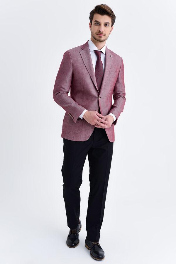 Hatem Saykı - Desenli Slim Fit Bordo Ceket (1)