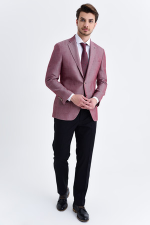 Hatem Saykı - Bordo Slim Fit Desenli Blazer Ceket (1)